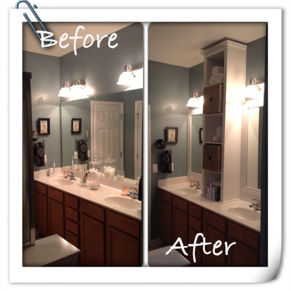 Our Bathroom Mirror Renovation We Modified A Ikea Expedit Bookshelf Used Casing Trim Quarter Roun Bathroom Mirror Top Bathroom Design Update Bathroom Mirror
