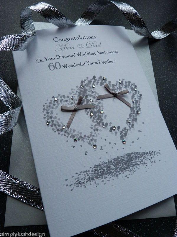 Handmade Personalised Diamond Wedding Anniversary Card 60 Ye Diamond Wedding Anniversary Cards Wedding Anniversary Cards Anniversary Congratulations