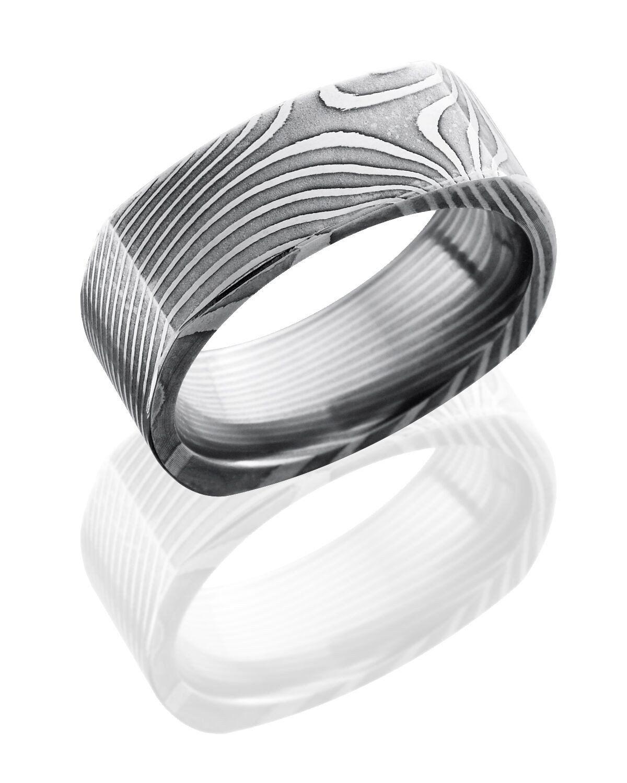 Damascus Steel 8mm Flat, Square Ring, Flat Twist Pattern   Damascus ...