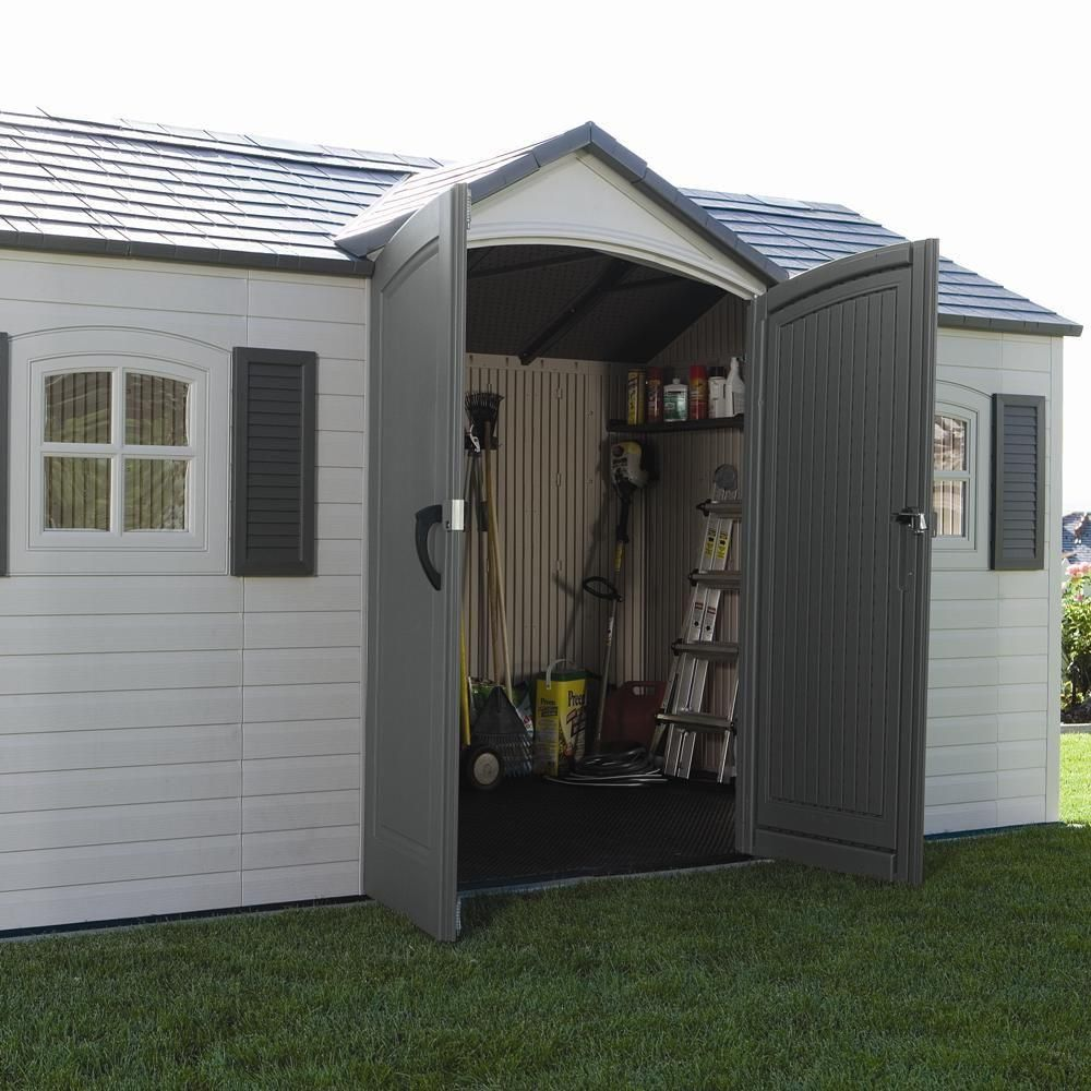 Lifetime 15 Ft X 8 Ft Outdoor Garden Shed 6446 The Home Depot Plastic Storage Sheds Outdoor Garden Sheds Garden Storage Shed
