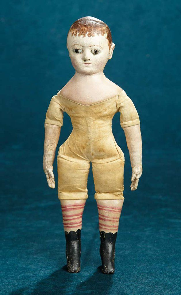 Extremely Rare Small Size of the American Cloth Folk Doll by Izannah Walker 11,000/14,000