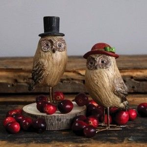 Owl Statue with Hat, Set of 2