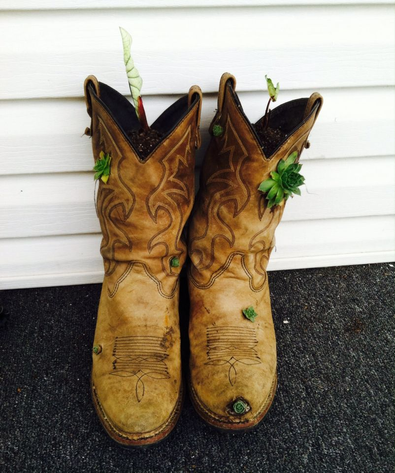 10fe90f8dde Cut holes in your hubby's old boots or thrifted boots, poke/pull ...