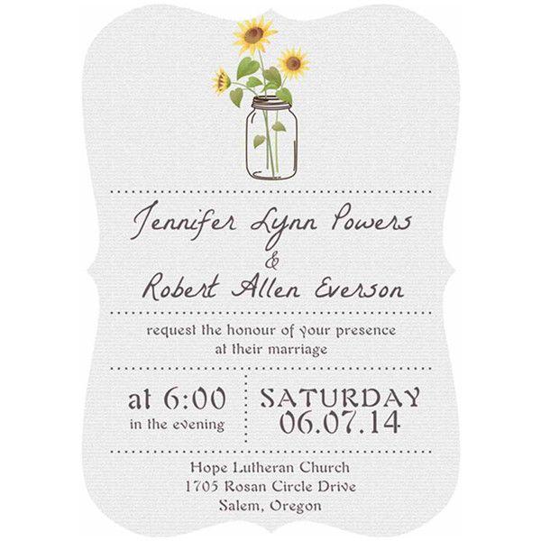 Rustic Sunflower Mason Jars Wedding Invitations Bracket Version For Backyard  Wedding Ideas EWIb355