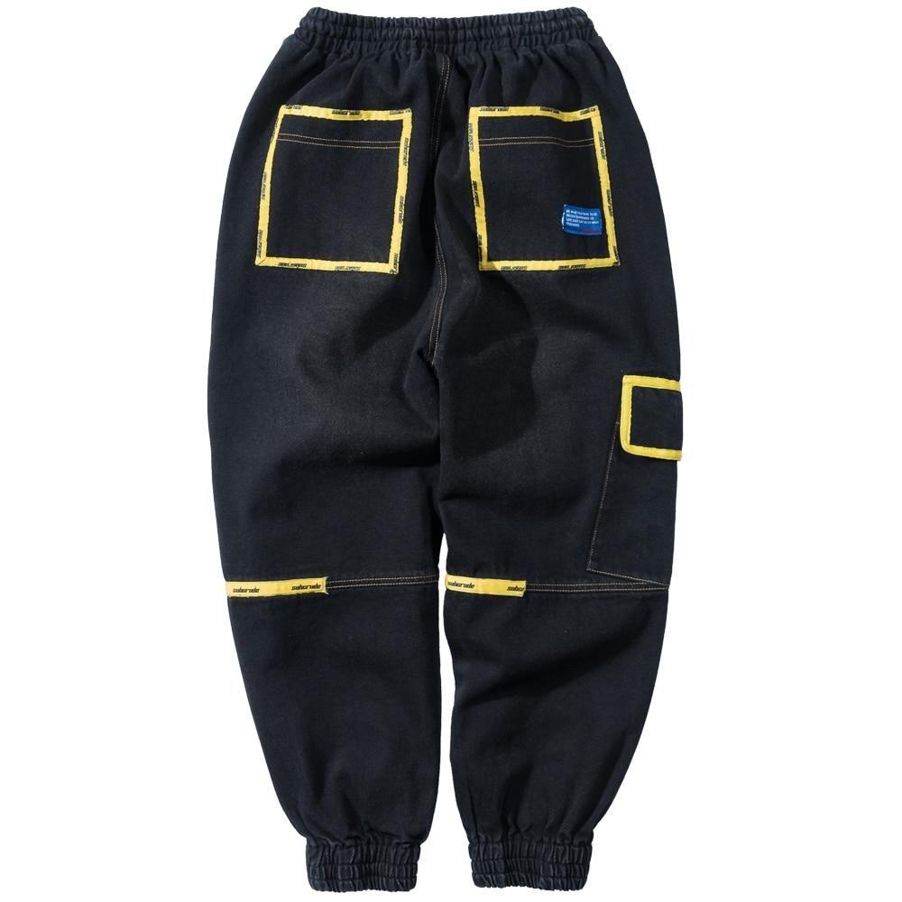 Men hip hop denim cargo joggers pants in 2020 jogger