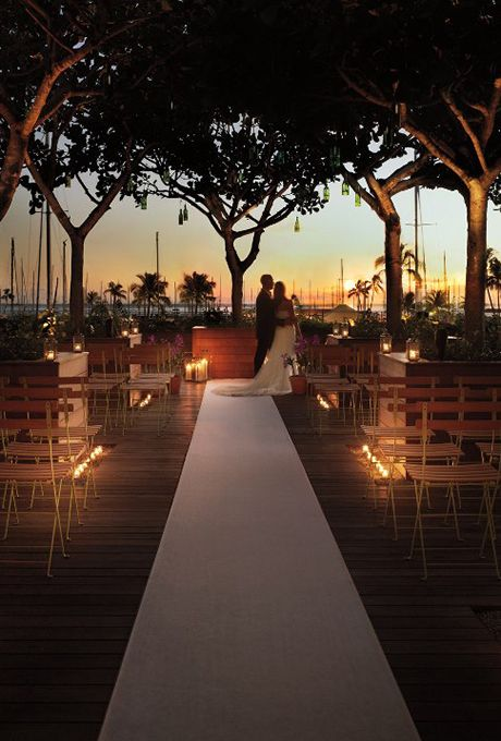 Brides.com: . The Modern Honolulu in Oahu, Hawaii. At this insanely chic destination hotel, it's all about the optics: Cross an aisle over the rooftop pool to meet your groom; The Modern Honolulu.