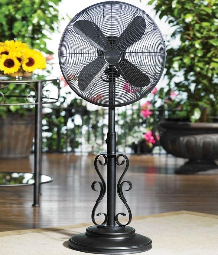 Don T Worry About The Heat With This Weather Resistant Fan Elegantly Designed With An Antique Style This Fan Will Complement Your Outdoor Patio Fan Outdoor Flooring Pedestal Fan