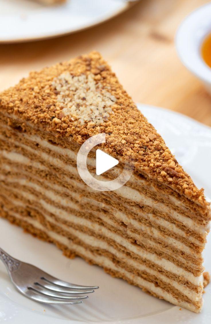 Honigkuchen Medovik | Baumkuchen mit Honig und Creme | Backen | Foodtempel