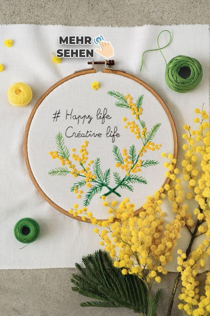 Embroider a bloom of mimosa on a drum -  # #machesselbst–diy