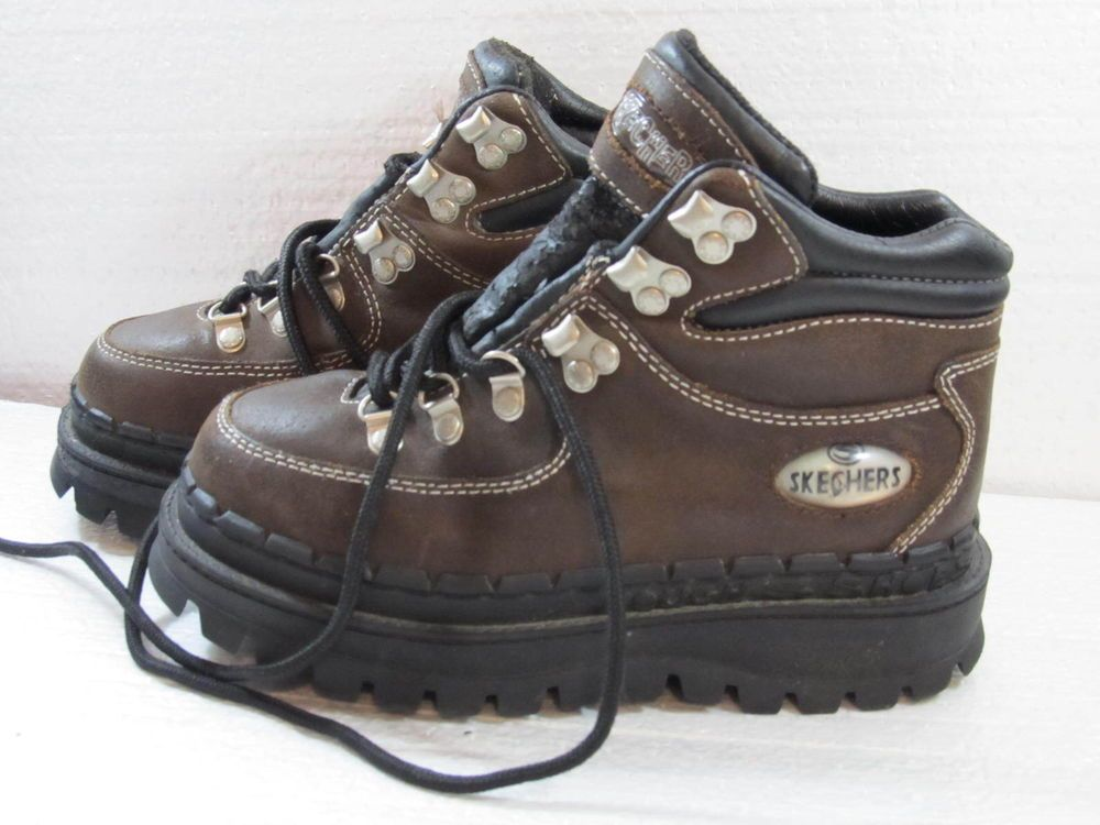Skechers Womens  Brown Leather Walking  Hiking Trail Shoes Size 8 Casual Lace up