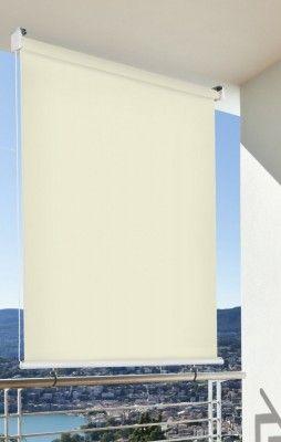 Balkon-Sichtschutz Balkon-Markise Balkon-Windschutz Rollo Creme vertikal 100 x 230 cm