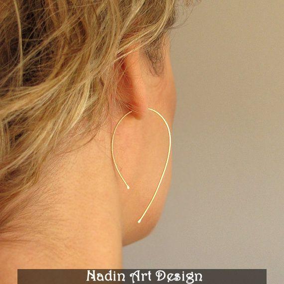 Goldene Offene Creolen. Moderner Goldschmuck von NadinArtDesign auf DaWanda.com
