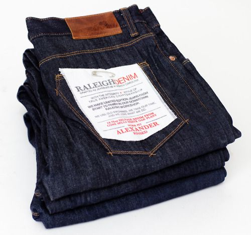 A fresh stack of Alexander Rinsed Work-fits - This is the perfect time of year to break in these raw 13.75oz Cone Mills White Oak selvage denim.