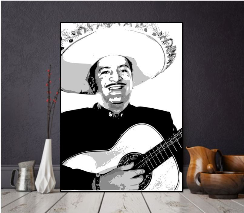 Printable Jose Alfredo Jimenez Poster Black And White Mexican Art Arte Mexicano Instant Download Art Charro Cantor Arte Mexicano Mexican Art Black And White