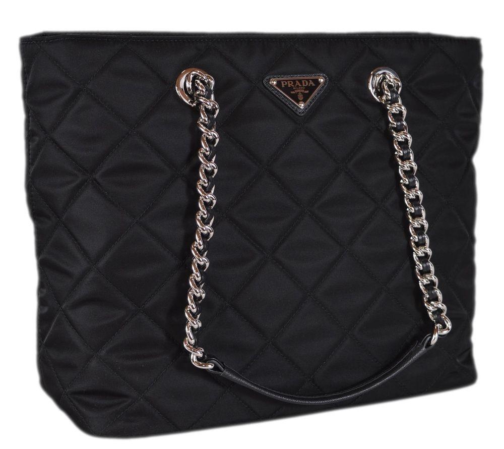 New Prada Black 1BG017 Black Tessuto Quilted Nylon Chain Strap Purse Tote   Prada  ShoulderBag b558fe9636a