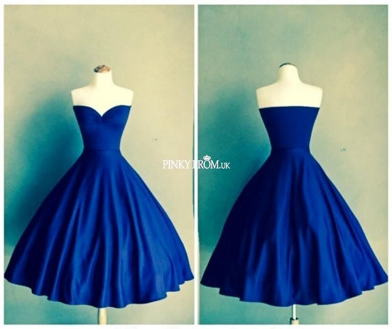 1950s Retro Sweetheart Knee Short A Line Royal Blue Pin up Style ...