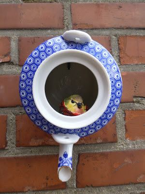 Make a birdhouse from vintage teapots! See how on HGTVs Design ... Tea Pot Bird House Designs on coffee bird houses, flower bird houses, basket bird houses, tree bird houses, christmas bird houses, box bird houses, easy to make bird houses, silver bird houses, pan bird houses, book bird houses, clock bird houses, really easy bird houses, spoon bird houses, vintage bird houses, porcelain bird houses, cream bird houses, teacup bird houses, watering can bird houses, tea cup bird feeder poem, kettle bird houses,