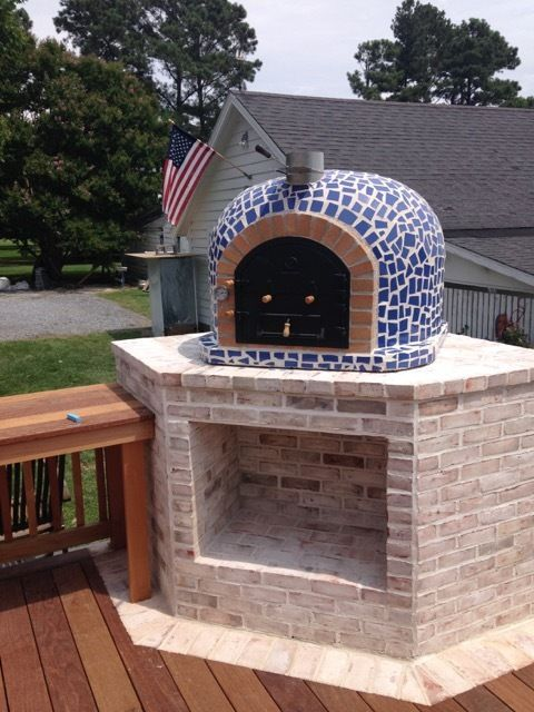 Outdoor Pizza Oven w/ Mosaic Tiles, Cast Iron Door, Insulation - Outdoor Pizza Oven W/ Mosaic Tiles & Cast Iron Door, Made In