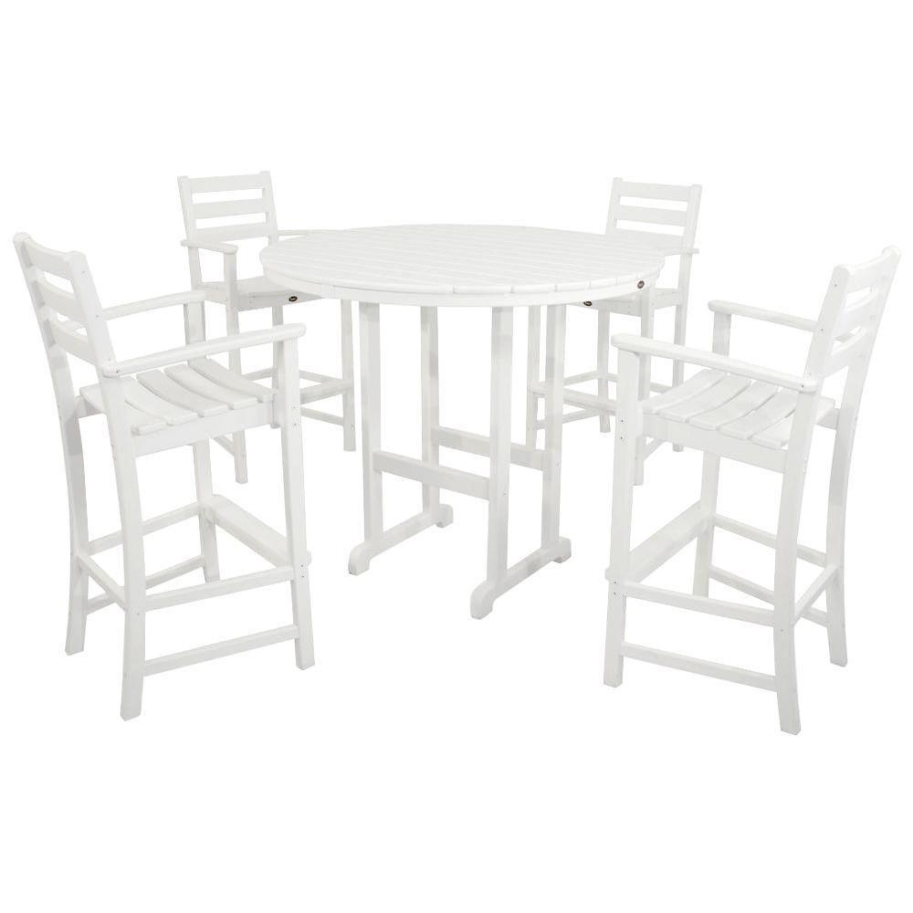 Trex Outdoor Furniture Monterey Bay Classic White 5 Piece Patio Bar Set
