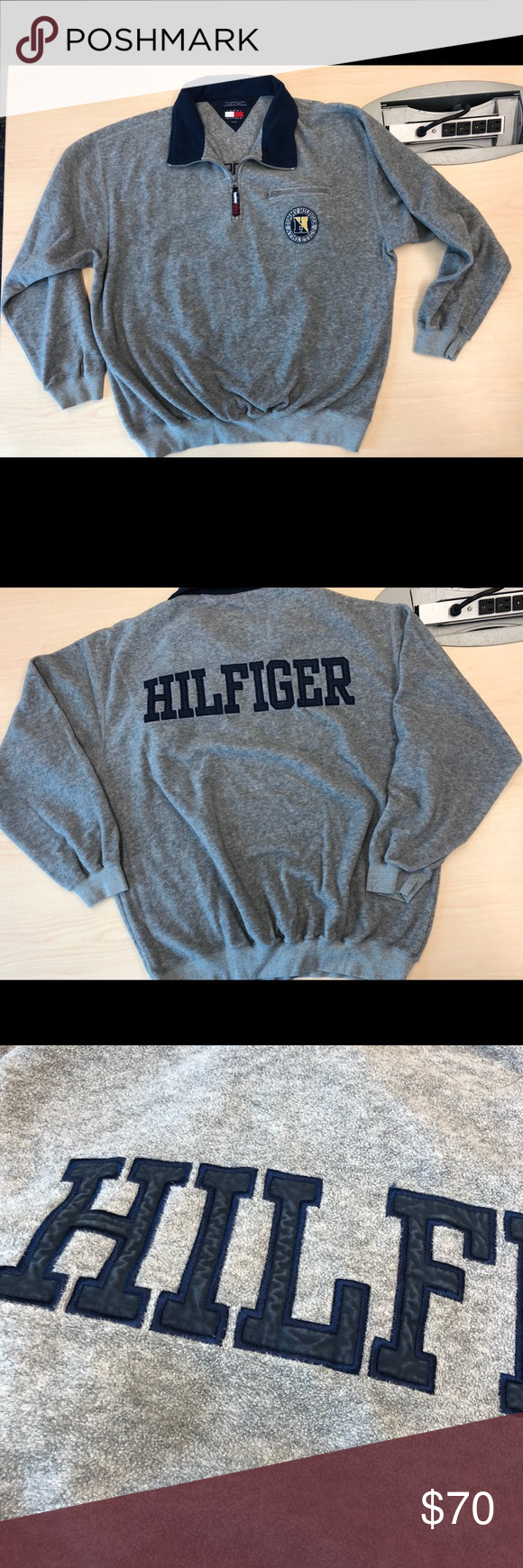 Tommy hilfiger athletics fleece jacket xl vintage tommy hilfiger