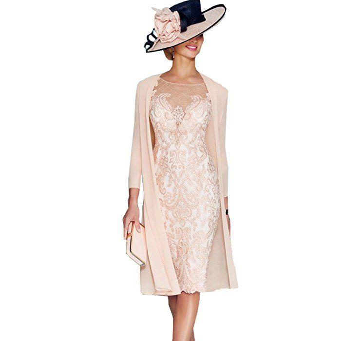 dressvip Elegant Rosa Chiffon Kleider Damen Festlich (36 ...
