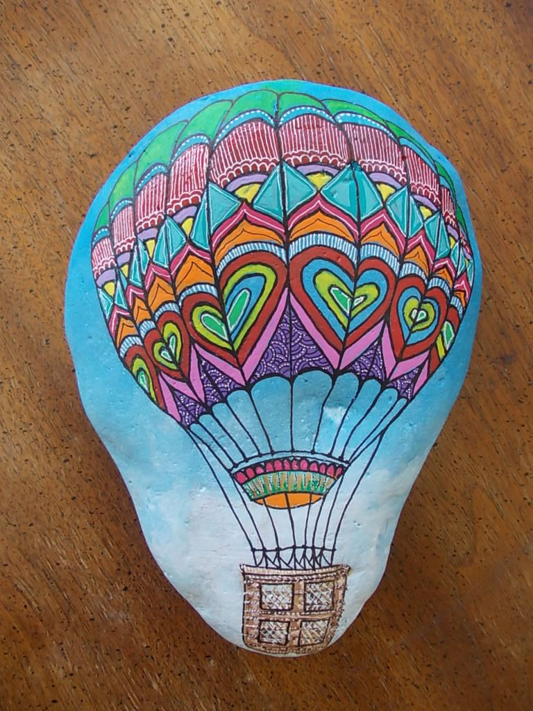 Big hand painted rock,Hot air balloon by Pebble Painting