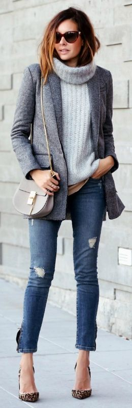 Layer a cowl neck sweater under a tonal blazer for a contemporary casual Friday outfit.