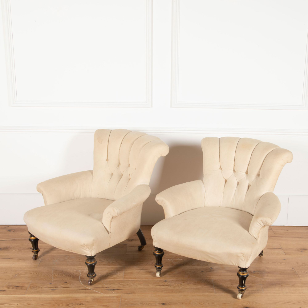 Pair Of English 19th Century Button Back Armchairs Armchair