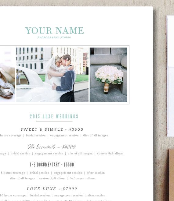 Wedding Photographer Pricing Guide Photography Templates Digital Photoshop Files Psd Price List Instant Download M0097 Wedding Photographer Pricing Guide Photographer Pricing Guide Pricing Guide Photography
