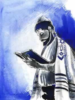 Man holding Siddur davening (from Yiddish דאַוונען daven