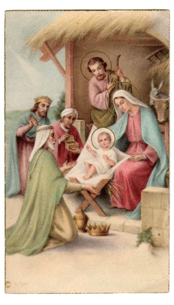 Religiöse Weihnachtskarten.1946 Christmas Nativity Vintage Holy Card Vint Christmas Cards