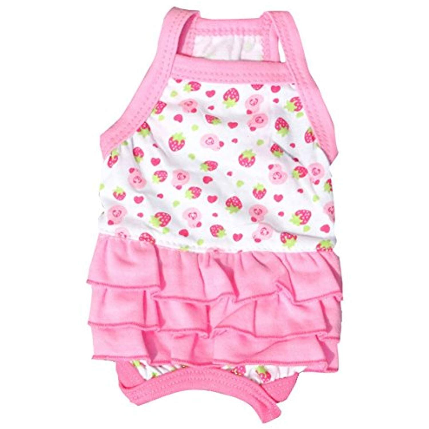 Stock Show Pet Dog Cute Pink Dresses with Strawberry