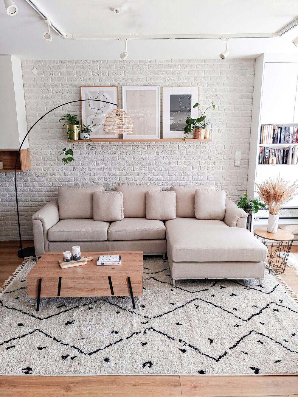 Right Hand Fabric Corner Sofa Beige OSLO