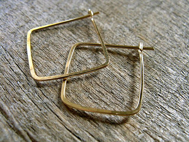 Square Hoop Earrings Gold Fill By Autumnequinox On Etsy 18 00