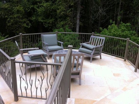 Concrete Patio With Railings Modern Design Of Patio Railing | Railing For Concrete Porch | Residential | Paver Patio | Hand | Flagstone Porch | Repair