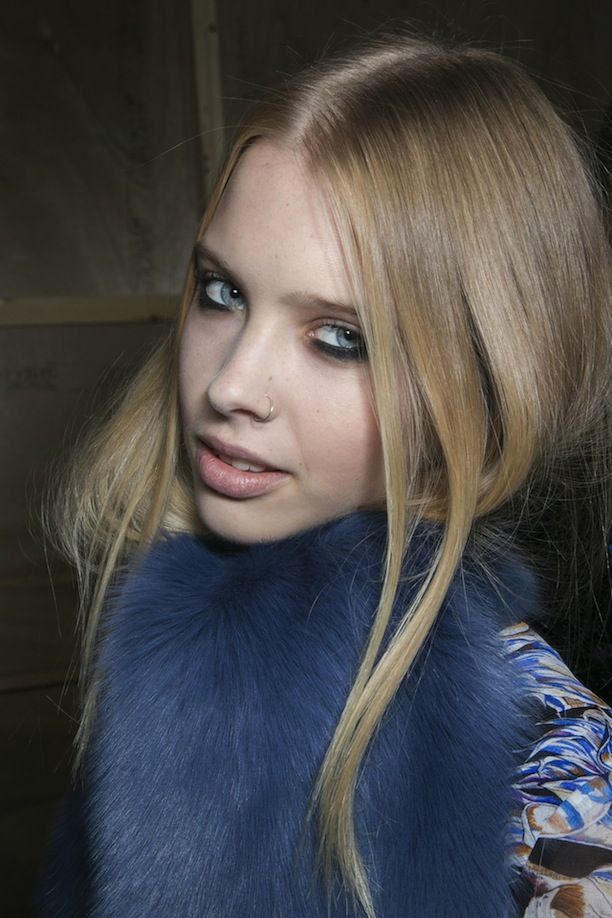 Backstage beauty at Topshop Unique: smoky eyes below the bottom lashes. // #LFW #FashionWeek