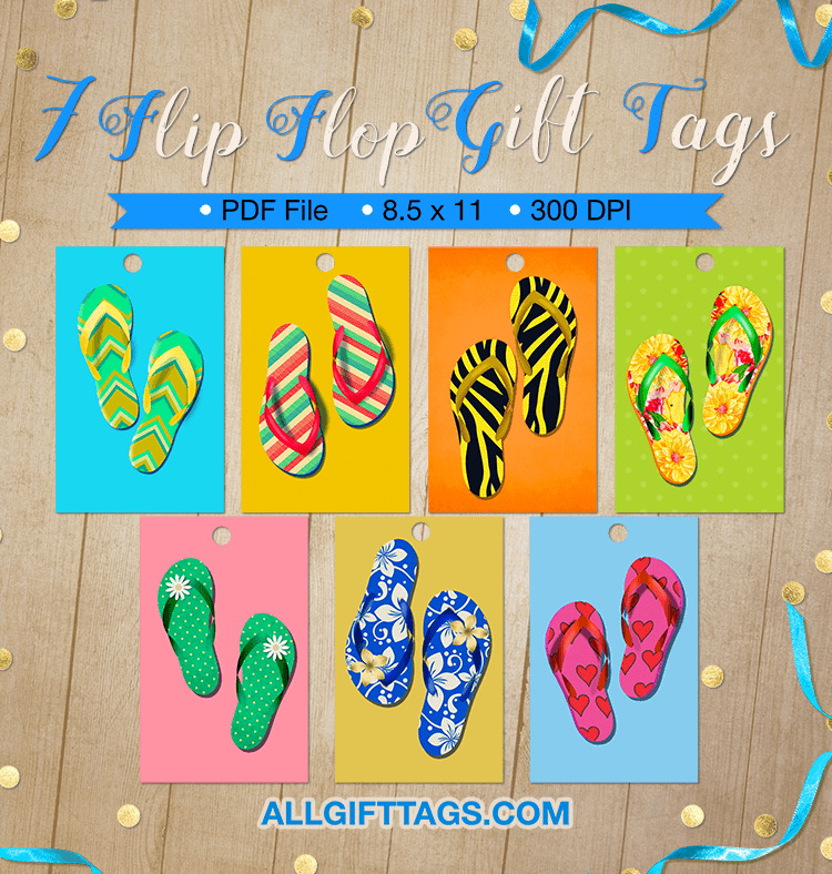 e96178f45 Printable flip flop gift tags. Get them in PDF format at http