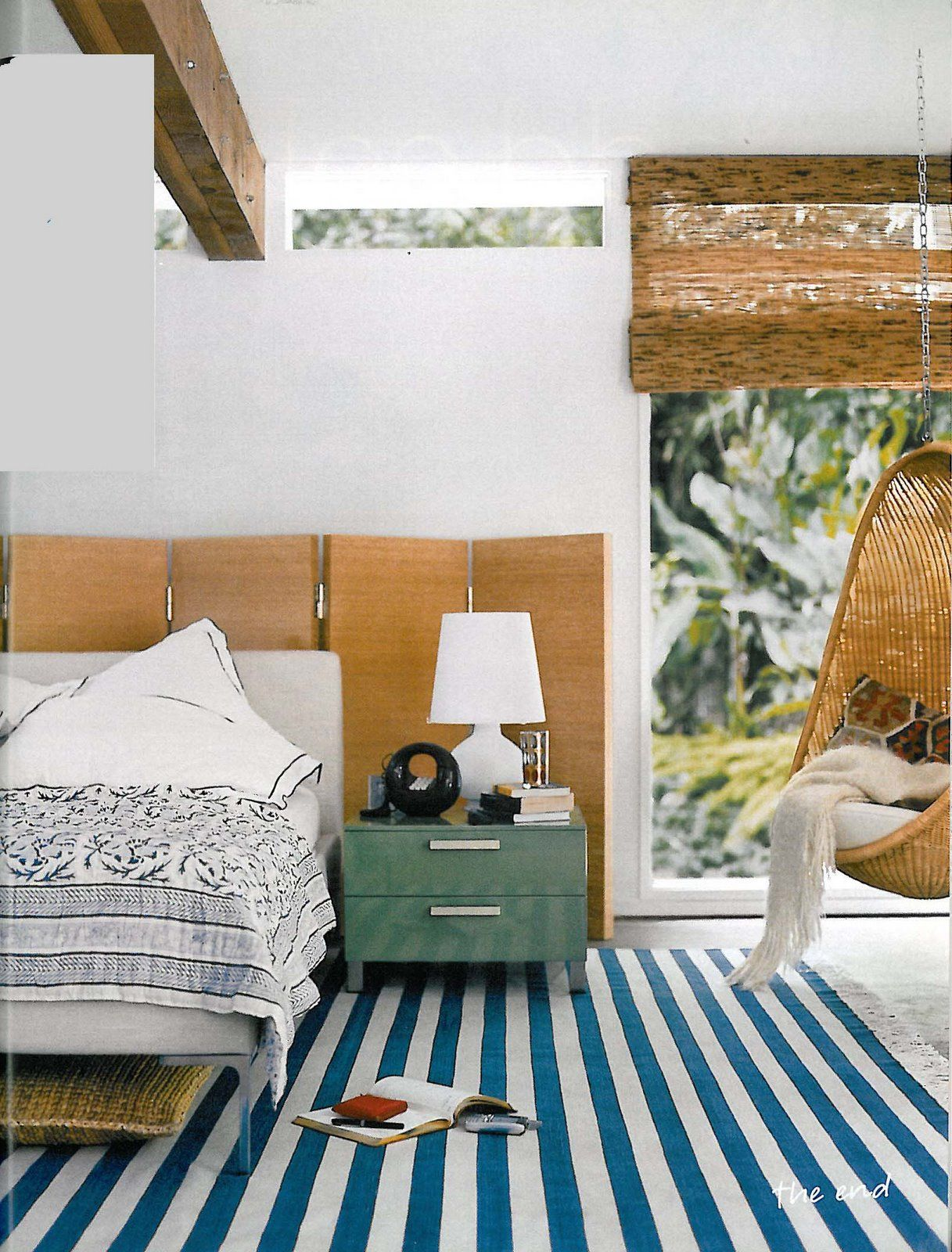 Beachy modern bedroom stripes wood white bedrooms room and