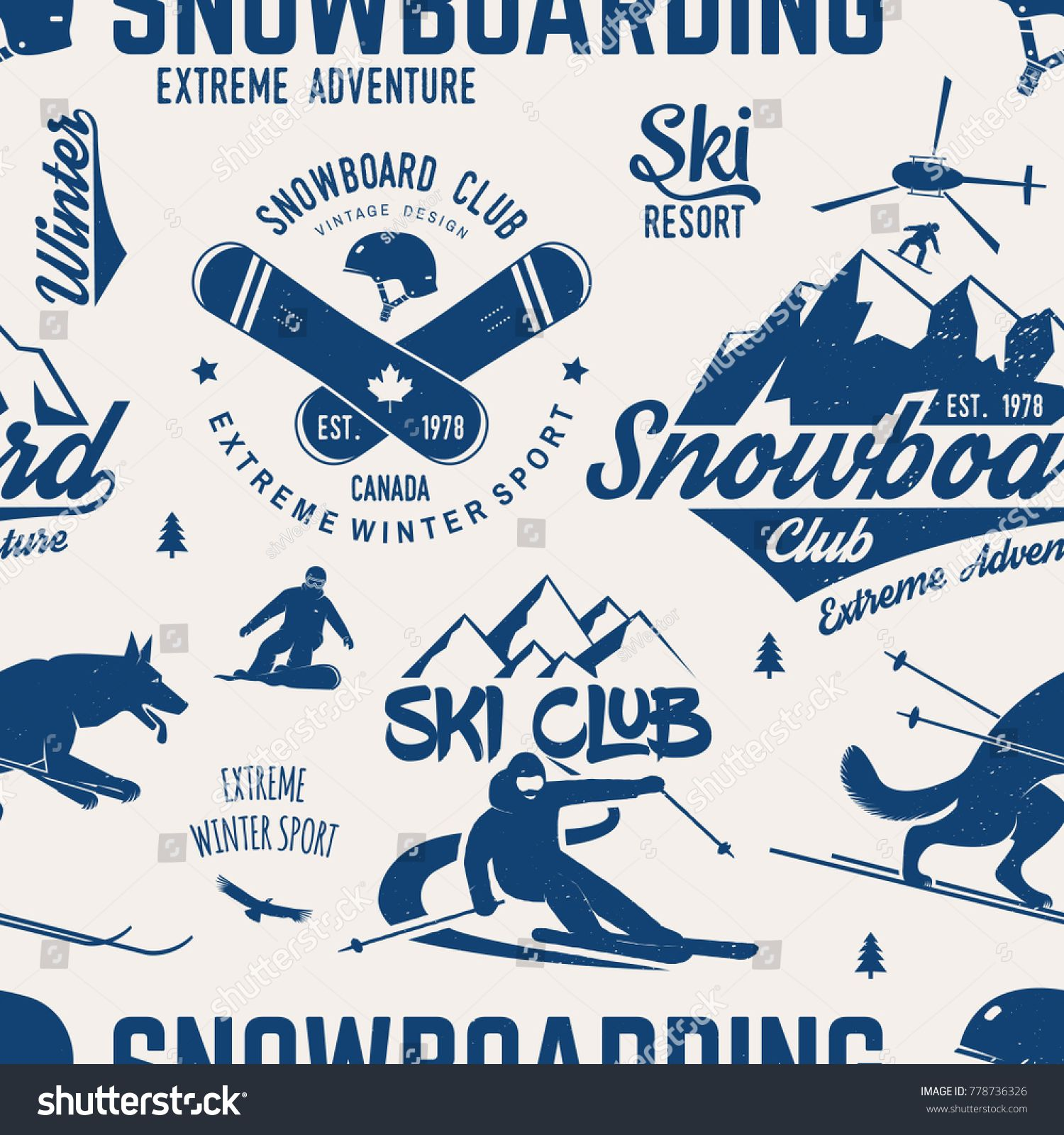 Ski And Snowboard Club Seamless Pattern Vector Illustration Concept For Shirt Print Stamp Badge Or Tee Vintage Typography Design In 2020 With Images Vintage Typography Design