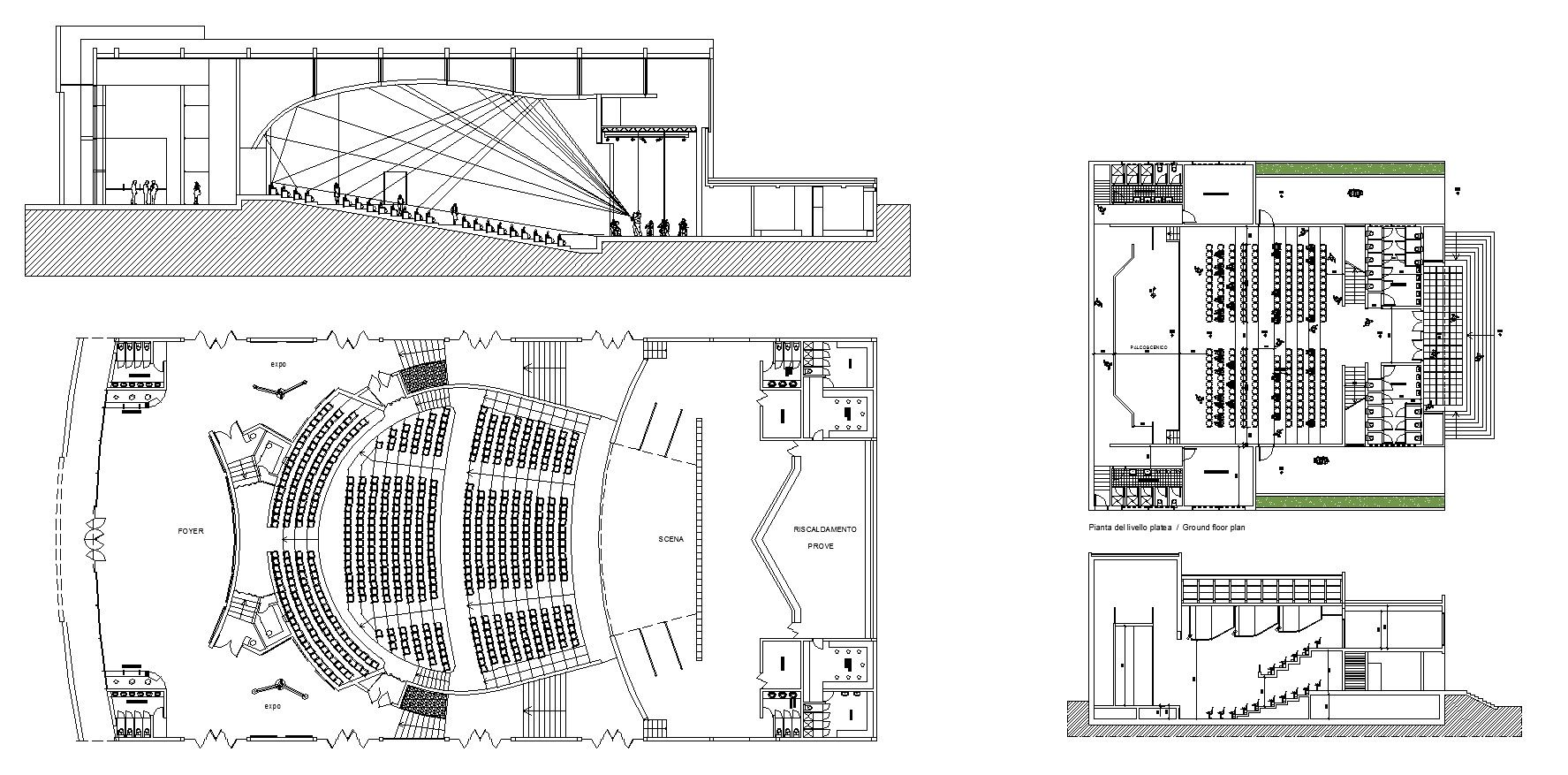 theater plans in   theatre  pinterest  auditorium design cad . theater plans – cad design  free cad blocksdrawingsdetails