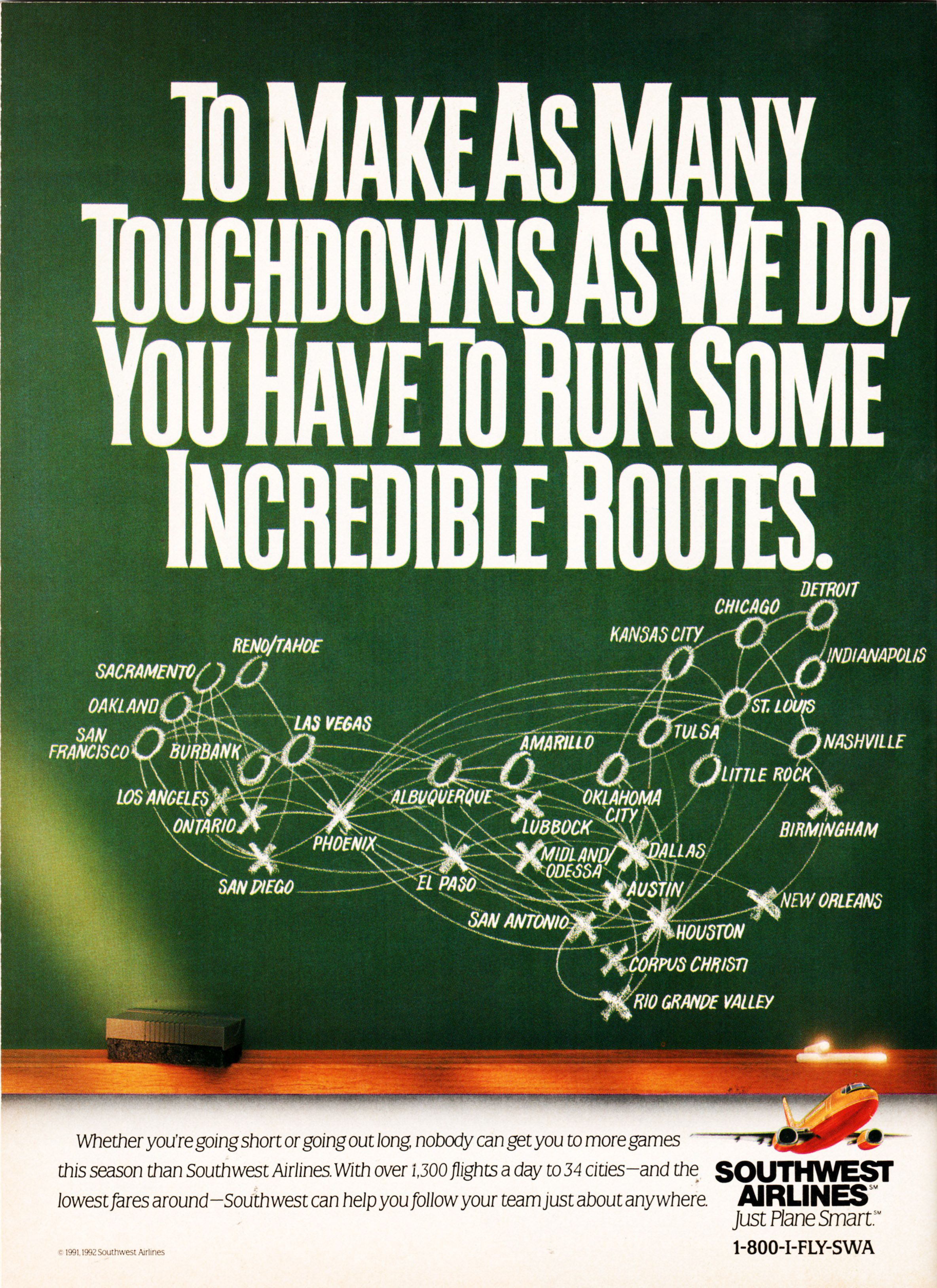 Southwest Airlies Ad from NFL Gameday Program for Houston