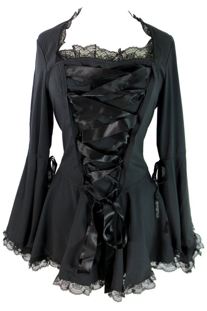 75ebae178c Victorian Gothic Steampunk Bell Sleeve Ribbon Lace Top - Skelapparel - 2