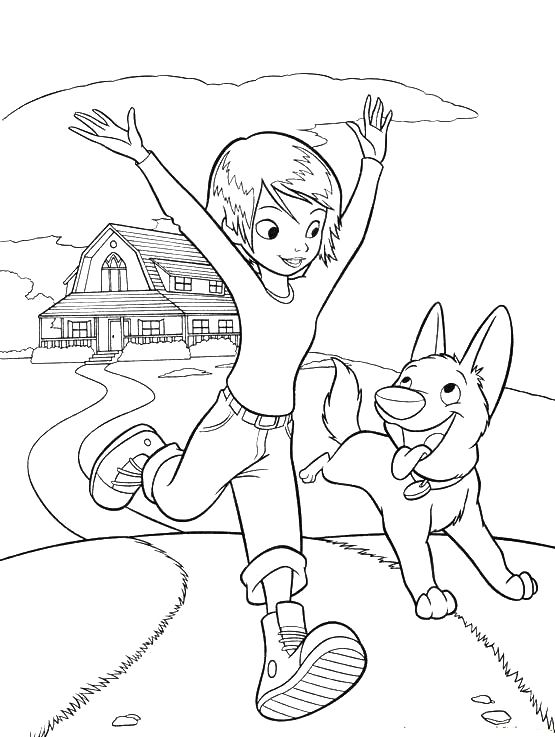 Bolt The Dog Running With Penny Coloring Pages Cartoon Coloring