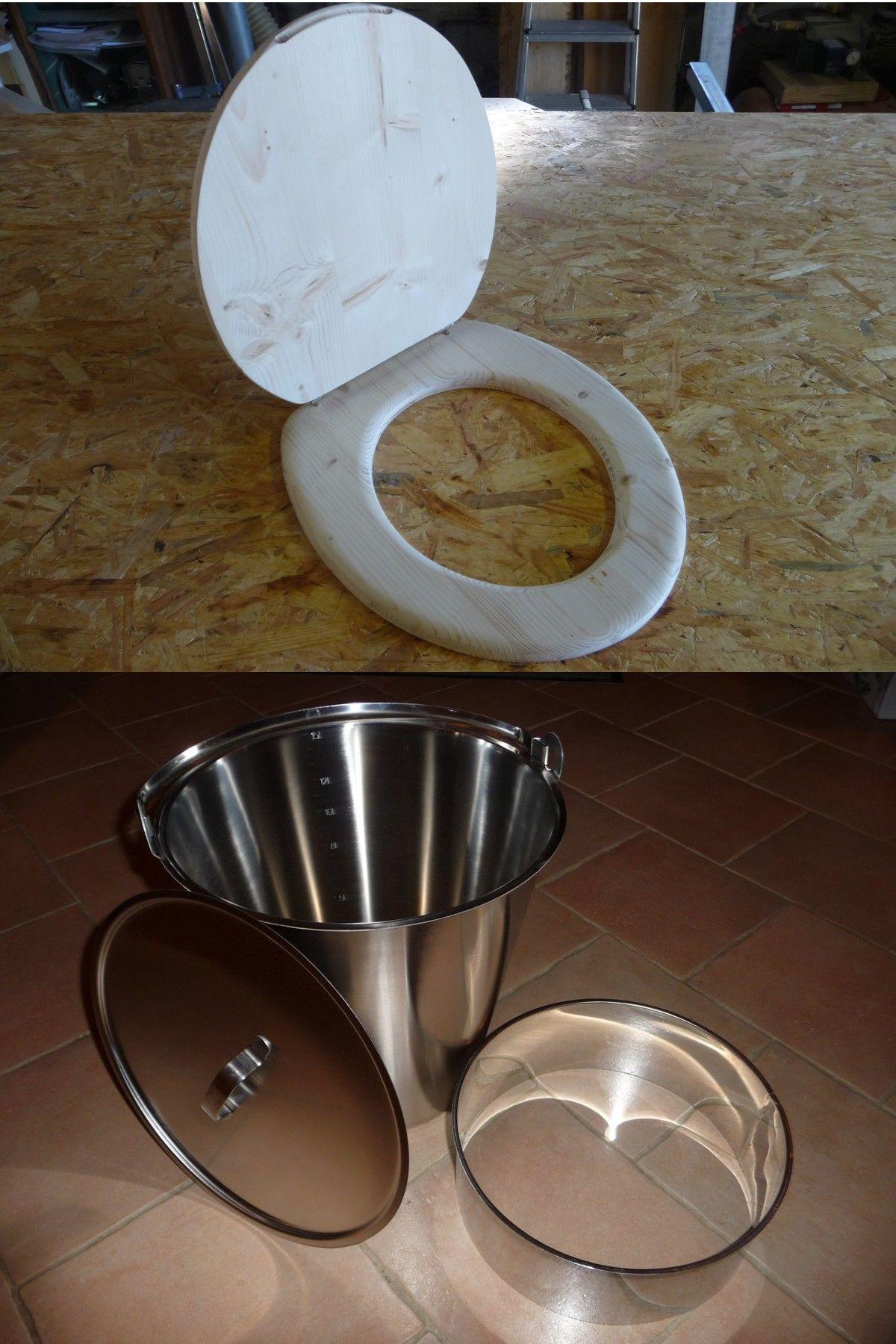 ensemble pour fabriquer ses propres toilettes s ches lunette abattant bois seau inox. Black Bedroom Furniture Sets. Home Design Ideas