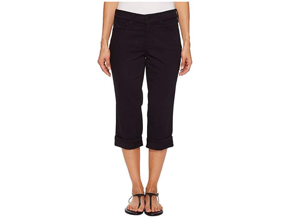 NYDJ Petite Petite Marilyn Crop Cuff in Black Black Womens Jeans Put your best body forward in NYDJ jeans Denim crop has a high rise straight leg and cuffed hem Lift Tuck...
