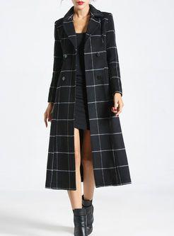 Vintage Plaid Notched Collar Slim Cashmere Coat