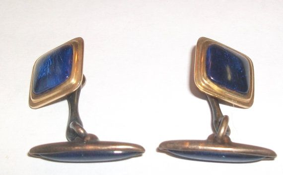 50's Marked KREMENTZ Blue Glass Cuff ButtonsLinks by feathersoup, $16.00  SOLD OCT