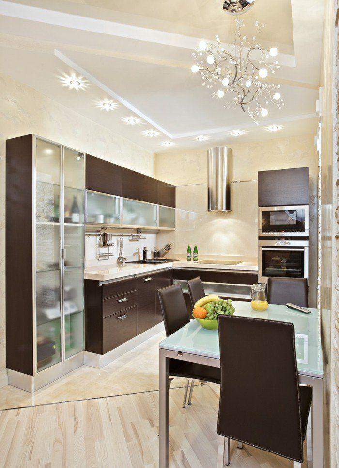 kücheneinrichtung elegante einrichtungsideen braune akzente - küchen mit theke