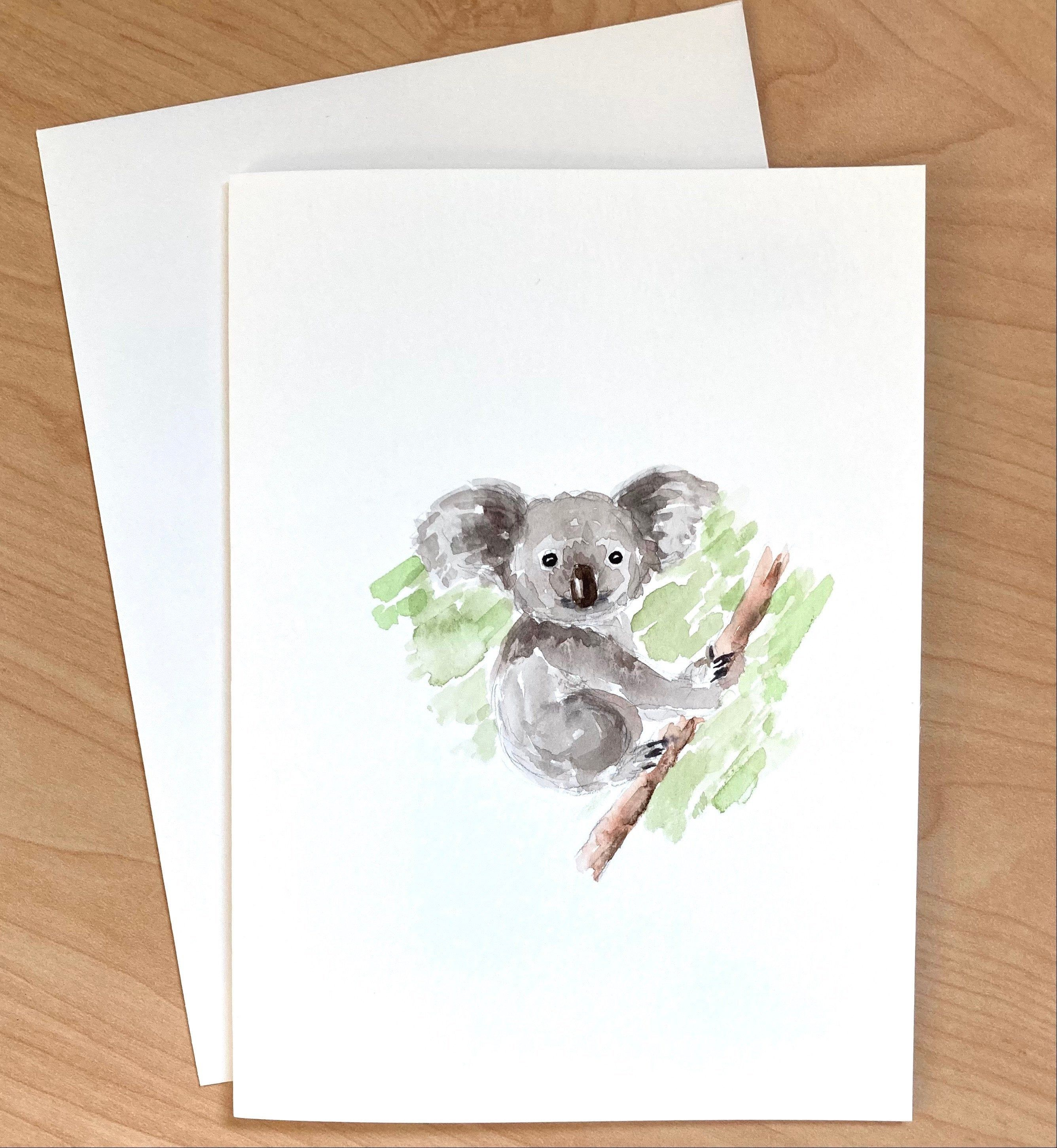 Hand Painted Greeting Card Not Print Koala Card Original Etsy In 2021 Paint Cards Watercolor Cards Cards Handmade