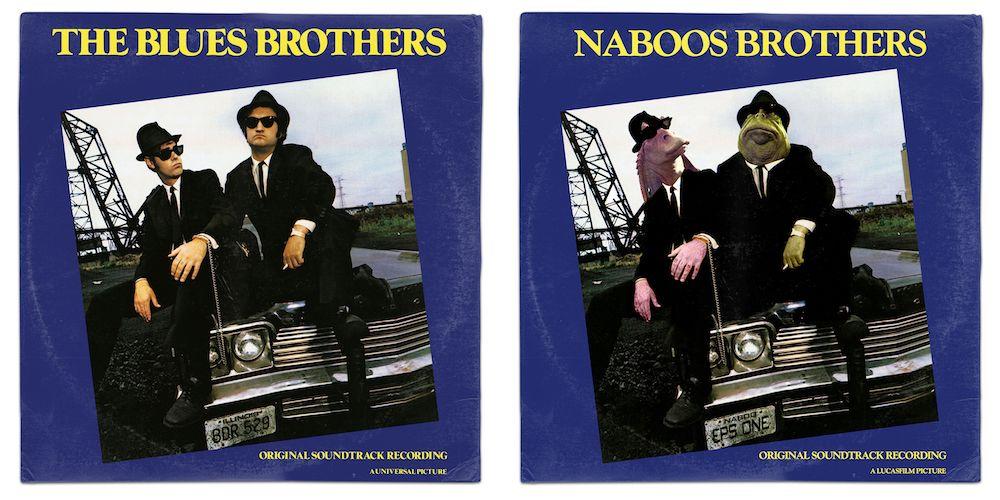 Star Wars Jar Jar Binks Blues Brothers Soundtrack Vinyl Mash Up Parody Art Print By Whythelongplayaface Album Mashup Funny Art Prints Funny Art Art Parody